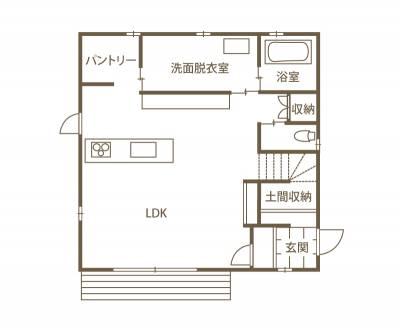 住むほどになじんでいく 普段着のような家「Kinarie」 1F間取り図