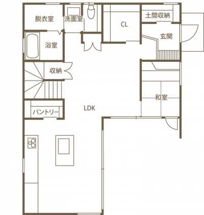 2階も外もひとつにつながる 温かみと工夫にあふれた高知産の木の家 1F間取り図