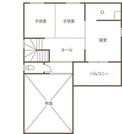 2階も外もひとつにつながる 温かみと工夫にあふれた高知産の木の家 2F間取り図